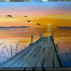 Sunset Dock Painting